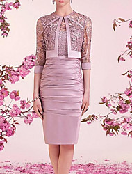 cheap -Two Piece Sheath / Column Mother of the Bride Dress Elegant Illusion Neck Jewel Neck Knee Length Lace Satin 3/4 Length Sleeve with Embroidery Ruching 2020
