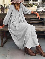 cheap -Women's A-Line Dress Maxi long Dress - Long Sleeve Solid Color Fall Casual 2020 Blushing Pink Gray Light Blue S M L XL