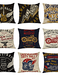 cheap -9 pcs Linen Pillow Cover, Hard Rock American Vintage Casual Modern Square Traditional Classic