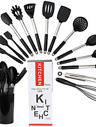 cheap -Silicone Kitchen Utensils Set with Bucket Non-stick Heat Resistant Kitchen Cookware with Stainless Steel Handle 15 Pcs