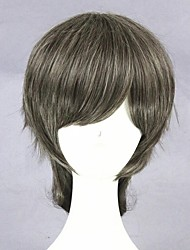 cheap -Cosplay Wig Lolita Curly Cosplay Halloween With Ponytail Wig Medium Length Grey Synthetic Hair 16 inch Men's Anime Cosplay Cool Mixed Color
