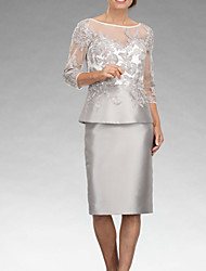 cheap -Two Piece Mother of the Bride Dress Elegant Illusion Neck Knee Length Satin 3/4 Length Sleeve with Appliques 2020 / Illusion Sleeve