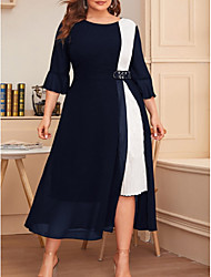 cheap -Women's A Line Dress Midi Dress Black Wine Navy Blue 3/4 Length Sleeve Color Block Summer Round Neck Casual 2021 XL XXL 3XL 4XL / Plus Size