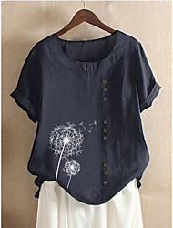 cheap -Women's Blouse Shirt Floral Flower Print Round Neck Tops Loose Cotton Basic Basic Top Blue Purple Blushing Pink