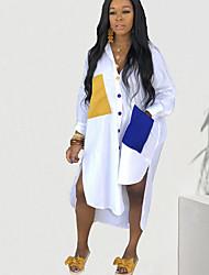 cheap -Women's Shirt Dress Midi Dress - Long Sleeve Color Block Pocket Spring Fall Casual Weekend 2020 White S M L XL XXL XXXL