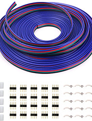 cheap -5M 4 Pin RGB Extension Cable Wire Cord for 5050 3528 Color Changing Flexible LED Strip Light with 10x Gapless LED Strip Connectors 20x LED Strip Clips 20x 4 Pin Male to Male Connector