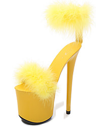 cheap -Women's Sandals Furry Feather Summer Stiletto Heel Open Toe Classic Party & Evening Buckle Solid Colored PU White / Black / Yellow