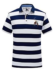 cheap -Men's Polo Striped Embroidered Tops Cotton White Yellow Orange / Short Sleeve / Work