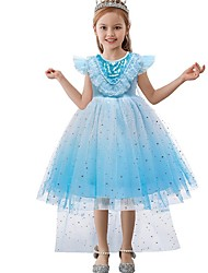 cheap -Princess / Ball Gown Knee Length Wedding / Party Flower Girl Dresses - Tulle Cap Sleeve Jewel Neck with Tier / Paillette