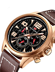 cheap -Men's Sport Watch Quartz Modern Style Stylish Casual Calendar / date / day Analog Black Gold Brown / Genuine Leather / Noctilucent / Genuine Leather