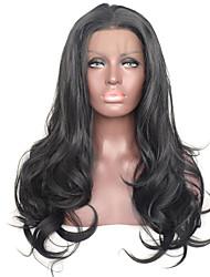 Недорогие -натуральный черный свободная волна синтетический парик фронта шнурка теплостойкое волокно ежедневно носить для женщин