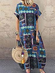 cheap -Women's A-Line Dress Maxi long Dress - Short Sleeve Geometric Summer Work 2020 Red Orange Navy Blue S M L XL XXL 3XL 4XL 5XL
