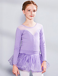 cheap -Ballet Skirts Lace Split Joint Girls' Training Performance Long Sleeve High Spandex Lace Tulle
