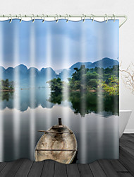 cheap -Lake Boat Scenery Digital Print Waterproof Fabric Shower Curtain for Bathroom Home Decor Covered Bathtub Curtains Liner Includes with Hooks
