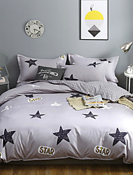 cheap -Star Printed Gray Duvet Cover Set, Ultra Soft and Easy Care, 4-Piece Duvet Cover Set For Kid's Room