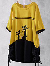 cheap -Women's Color Block T-shirt Daily Yellow / Orange