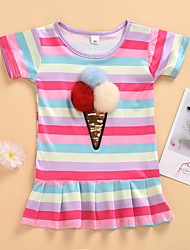 cheap -Baby Girls' Active Dusty Blue Rainbow Pleated Short Sleeve Above Knee Dress Blushing Pink