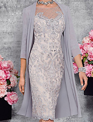 cheap -Two Piece Sheath / Column Mother of the Bride Dress Elegant Illusion Neck Knee Length Lace 3/4 Length Sleeve with Embroidery 2021