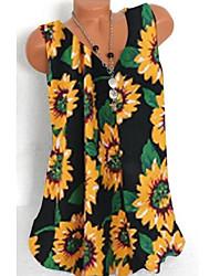 cheap -Women's Tops Floral T-shirt V Neck Daily White Black S M L XL 2XL 3XL 4XL 5XL