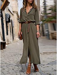 cheap -Women's Shirt Dress Maxi long Dress - Long Sleeve Solid Color Summer Fall Shirt Collar Work Hot Formal vacation dresses 2020 Black Army Green Navy Blue S M L XL