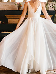cheap -A-Line Wedding Dresses V Neck Floor Length Chiffon Sleeveless Simple with Pleats 2020