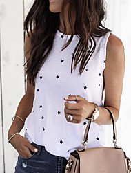 cheap -Women's T-shirt Graphic Round Neck Tops Loose Basic Top White Black