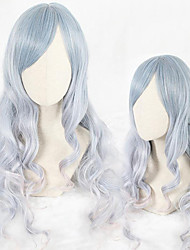 cheap -Cosplay Wig Lolita Curly Cosplay Halloween With Bangs Wig Long Light Blue Synthetic Hair 25 inch Women's Anime Cosplay Comfortable Blue