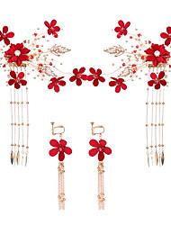 Недорогие -Жен. Свадебные комплекты ювелирных изделий Цветы Стиль Серьги Бижутерия Красный Назначение Свадьба Для вечеринок 1 комплект