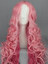 cheap -Cosplay Costume Wig Cosplay Wig Ringo Tsukimiya Uta no Prince Sama Curly Cosplay Halloween Middle Part Wig Long Pink Synthetic Hair 35 inch Women's Anime Cosplay Romantic Mixed Color