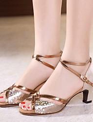 cheap -Women's Modern Shoes PU Heel Cuban Heel Dance Shoes Gold / Silver / Brown