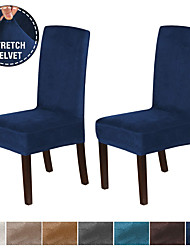 cheap -1 Set of 2 Pieces Velvet Dining Chair Covers Stretch Chair Covers for Dining Room Parson Chair Slipcovers Chair Protectors Covers Dining Soft Thick Solid Velvet Fabric Washable