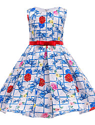 cheap -Kids Girls' Flower Sweet Floral Bow Print Sleeveless Midi Dress Blue