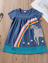 cheap -Kids Toddler Girls' Active Cute Blue Floral Animal Patchwork Print Short Sleeve Knee-length Dress Blue