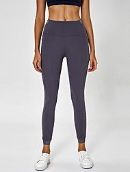 cheap -Women's High Waist Yoga Pants Side Pockets Cropped Leggings Butt Lift 4 Way Stretch Breathable Gray Nylon Non See-through Yoga Running Fitness Sports Activewear High Elasticity / Quick Dry