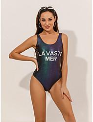 cheap -Women's Casual / Sporty Briefs One-piece Swimwear Swimsuit - Letter Print S M L Green