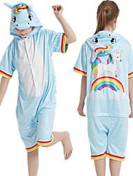 cheap -Kid's Kigurumi Pajamas Unicorn Onesie Pajamas Silk Fabric Blue Cosplay For Boys and Girls Animal Sleepwear Cartoon Festival / Holiday Costumes / Leotard / Onesie