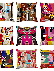 cheap -9 pcs Linen Pillow Cover, Abstract Printing Art Pattern Square Traditional Classic