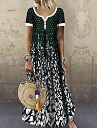 cheap -Women's A-Line Dress Maxi long Dress - Short Sleeves Floral Summer V Neck Boho Holiday Vacation 2020 Black Purple Green Navy Blue S M L XL XXL XXXL XXXXL XXXXXL