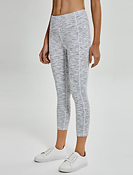cheap -Women's High Waist Yoga Pants Side Pockets Capri Leggings Butt Lift 4 Way Stretch Breathable White Nylon Non See-through Yoga Running Fitness Sports Activewear High Elasticity / Quick Dry