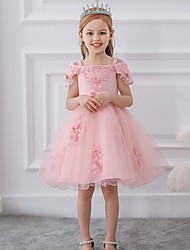 cheap -Princess / Ball Gown Knee Length Wedding / Party Flower Girl Dresses - Satin / Tulle Short Sleeve Off Shoulder with Sash / Ribbon / Bow(s) / Appliques