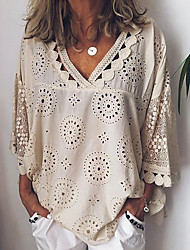 cheap -Women's Plus Size Solid Colored Lace Loose Shirt Casual / Daily V Neck White / Blue / Purple / Yellow / Blushing Pink / Beige