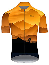 cheap -21Grams Men's Short Sleeve Cycling Jersey Nylon Black / Orange Gradient 3D Bike Jersey Top Mountain Bike MTB Road Bike Cycling Quick Dry Breathable Sports Clothing Apparel / Micro-elastic