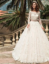 cheap -Ball Gown Wedding Dresses Off Shoulder Court Train Lace Long Sleeve Formal with Appliques 2020