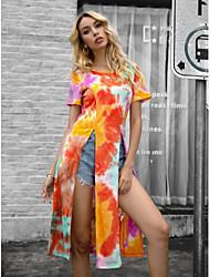 cheap -Women's Tunic Tie Dye Tops Round Neck Daily Orange XS S M L