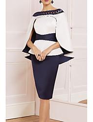 cheap -Sheath / Column Mother of the Bride Dress Elegant Vintage Plus Size Straight Neckline Knee Length Satin Sleeveless with Sash / Ribbon 2020