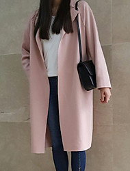 cheap -Women's Coat Daily Regular Solid Colored Blushing Pink / Gray / Light Blue M / L / XL