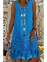 cheap -Women's A-Line Dress Knee Length Dress - Sleeveless Lace Summer Casual Boho Holiday Vacation Lace 2020 Wine White Blue Brown S M L XL XXL XXXL XXXXL XXXXXL