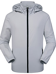cheap -DZRZVD® Men's Hiking Skin Jacket Hiking Jacket Summer Outdoor Solid Color Windproof Sunscreen Breathable Quick Dry Jacket Top Elastane Single Slider Hunting Fishing Climbing Black / Blue / Light Grey