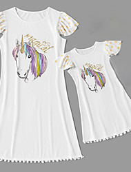 cheap -Mommy and Me Vintage Sweet Unicorn Geometric Animal Letter Print Short Sleeve Knee-length Dress White