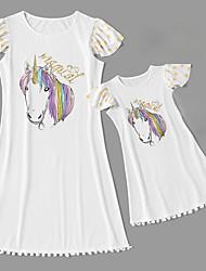billiga -Mamma och jag Vintage Ljuv Unicorn Geometrisk Djur Bokstav Tryck Kortärmad Knälång Klänning Vit